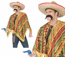 Mexican Poncho Adults Colourful Western Cape Mens Fancy Dress + Moustache