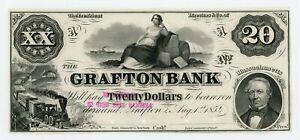 1854 $20 The Grafton Bank - Grafton, MASSACHUSETTS *PROOF* Note AU