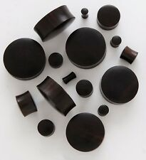 "1 Pair (2) 9/16"" 14mm Black Areng Organic Solid Wood Saddle Plugs Ear Gauges 486"