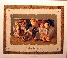 art print~BABY CHICKS~chickens in a box~farm bird animal Easter rvtg repro 14x12