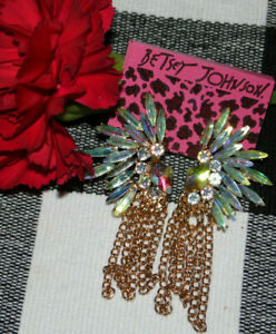 Betsey Johnson ~ Clear Crystal Gold Tone Post Drop Earrings ~ New ~ GO #1