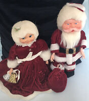 "Wonderful Vintage Santa & Mrs. Claus - Very Good Condition - Kitchy  - 14"" & 11"""