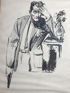 "LELAND R GUSTAVSON ORIGINAL PULP ART BLUE BOOK ILLUSTRATION ""The Lucky Fiddler"""