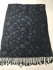 Pashmina Label Silk Blend Black Gray Shimmer Dot Shawl Scarf Wrap Fringe Soft