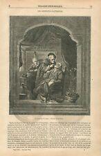 L'Arracheur de dents Dentiste par Gérard Dou/Gerrit Dow GRAVURE OLD PRINT 1854