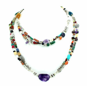 Necklace natural labradorite amethyst citrine carnelian multi gemstone jewellery