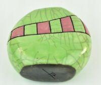 "Artist Signed Green Pink Vein Glaze 5"" tall Asian style Vase Studio Art Pottery"
