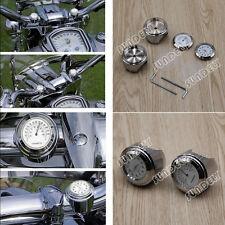 """Hi-Q Motocicleta Manillar de montaje 7/8"""" Calibrador De Cuadrante Reloj Reloj Termómetro GM BLANCO"""