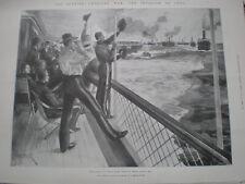 Spanish American War invasion Cuba US troop ships leave Egmont Key 1898 print