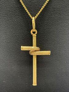 9ct 9k Yellow Gold Crucifix Cross Pendant 0.6 Grams. Brand New