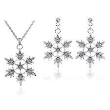 Shiny Bling Winter Silver Dangling Snowflake Drop Earrings Pendant Necklace