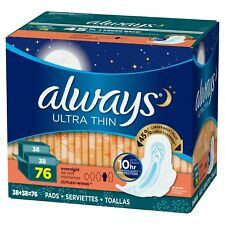 Always Ultra Thin Advanced Overnight Pads, 76-count, With Flexi Wings. Size(4)