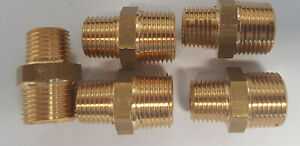 "Set of 5 Legris 3/8"" BSP to 1/4"" BSP Brass Reducing Nipples Fitting 0121 17 13"