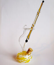 Murano Glass Pen Glass Pen Set with colored inkwell Yellow White
