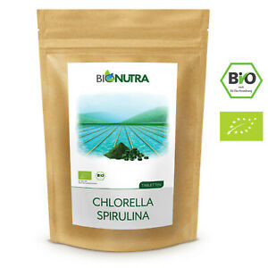 Bionutra® Chlorella Spirulina Presslinge Bio 250 g, 1000 x 250 mg Tabletten