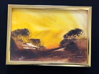 Jim Crofts Australian Oil Painting 1982 Home Shelter Trees Australia