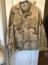 USAF Air Force Captain Desert Camo LARGE LONG Patched Shirt Coat DCU - OIF / OEF