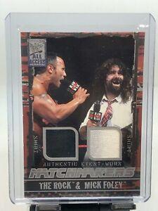 2002 Fleer WWF WWE All Access The Rock Mick Foley Dual Shirt Relic!