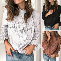 ZANZEA Women Lace Crochet Shirt Tops Flared Sleeve Ladies Tops Plus Size Blouse