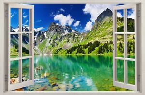 WALL STICKERS 3D Effect Window Mountain Lake decorative sticker to the room 32