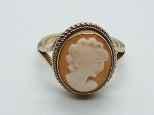 9ct gold cameo ring size J Hallmarked