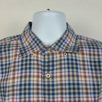 Peter Millar Multi Color Plaid Check Mens Dress Button Shirt Size XL Extra Large