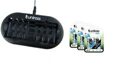 UNiROSS 8 Position  FAST AA/AAA BATTERY CHARGER & 12 x AA 2600 Series Batteries