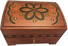 Wooden Chest Decorative Floral Box Handmade Jewelry Keepsake Chest Box w/ Lock