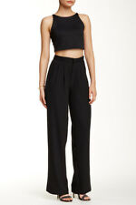 Romeo & Juliet Women's Wide Leg Dress Pants Black Welt Pockets Chic Career $155