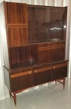 Vintage High-Quality Zebrawood Cabinet Drop Down Desk Glass Doors Solid Wood