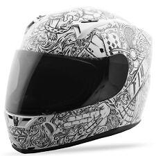 c8d1288e Fly Street 2018 REVOLT Ink 'N Needle Full-Face Motorcycle Helmet (White/