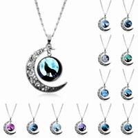 Mystical Vintage Wolf Crescent Moon Glass Cabochon Chain Pendant Necklace Charm