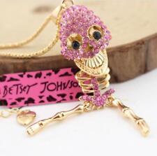 Fashion Pendant Rhinestone Pink Skull bone Enamel golden chain Necklaces
