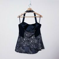 City Chic Plus Size Small Black Lace Peplum Halter Top