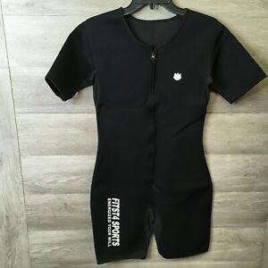 FitsT4 Sport Mens Medium Black Neoprene Zip Front Full Body Sauna Shapewear NWOT