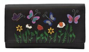 Mala Leather - Sophia Butterfly RFID Black Leather Matinee Purse RRP £32.99