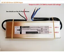 12V 24V Battery / DC LED Driver 2 X 50W 1500mA Build Grow-light DIY Floodlight