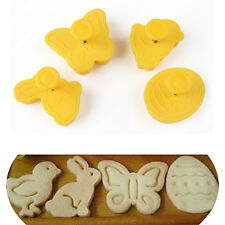 4 PCS Easter Egg Bird Butterfly Rabbit Cutter Plunger Fondant Cake Cookie Mold