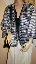 New with Tags CHANEL 12P Black/White Herringbone Tweed Jacket with PEARL Trim 42