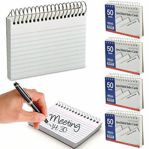 """4pc White Index Cards 3"""" X 5"""" Spiral Bound Ruled Front 50 Sheets School Office"""