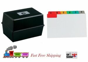 "Office Index Record Card Box Black Filing & Coloured Guide Record Cards ""5 x 3"""