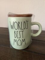"New RAE DUNN LL ""WORLD'S BEST MOM"" PALE GREEN Mug W/Wood Coaster/Lid By Magenta"