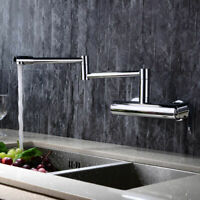 Modern Wall Mounted Swing Arm Kitchen Basin Sink Mixer Tap in Polished Chrome
