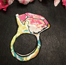 Large Pink Diamond Ring Sequin Embroidered Iron On Fashion Patch DIY Shirt