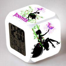 Reveil cube led lumière nuit alarm clock fille fleur personnalisé prénom réf 11