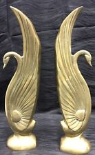 "Vtg Set Art Nouveau 15"" Solid Brass Swan Bookends Rare Geese Hollywood Regency"