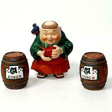 Department 56 Merry Makers Samuel the Sampler & Cider Barrels *RARE*
