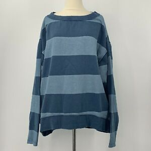 Free People We The Free Blue Striped Oversized Tunic Sweatshirt Crew Neck Medium