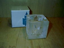 """Partylite Holiday Glow Glass Votive Holder Frosted Design 2 1/2"""" Square P0701"""