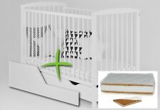 2in1 JASPER WHITE BABY COT WITH DRAWER + FREE BARRIER + OPTIONAL MATTRESS